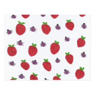 Strawberries and Lady Bugs Fruity Pattern Postcard