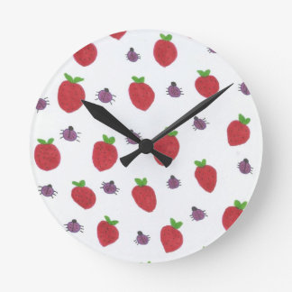 Strawberries and Lady Bugs Fruity Pattern Round Clock
