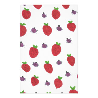 Strawberries and Lady Bugs Fruity Pattern Stationery