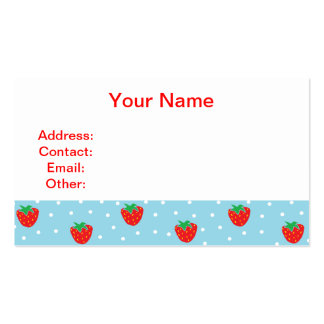 Strawberries and Polka Dots Blue Business Card