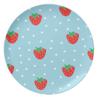 Strawberries and Polka Dots Blue Dinner Plates