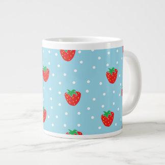 Strawberries and Polka Dots Blue Large Coffee Mug