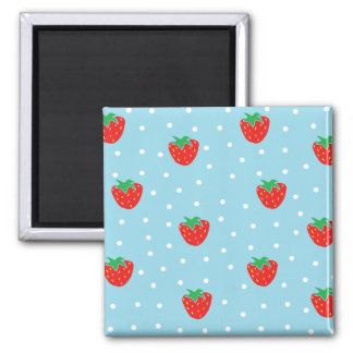 Strawberries and Polka Dots Blue Magnet