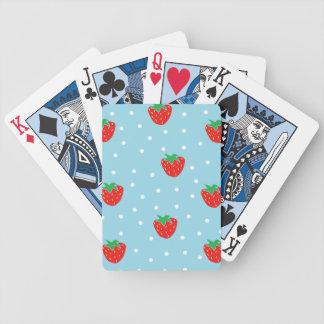 Strawberries and Polka Dots Blue Poker Deck