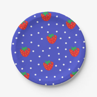 Strawberries and Polka Dots Dark Blue 7 Inch Paper Plate