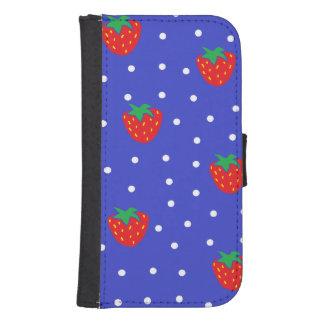 Strawberries and Polka Dots Dark Blue Galaxy S4 Wallet
