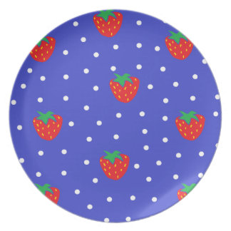 Strawberries and Polka Dots Dark Blue Plate