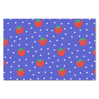 Strawberries and Polka Dots Dark Blue Tissue Paper