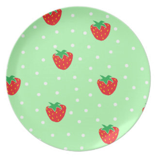 Strawberries and Polka Dots Mint Green Dinner Plate