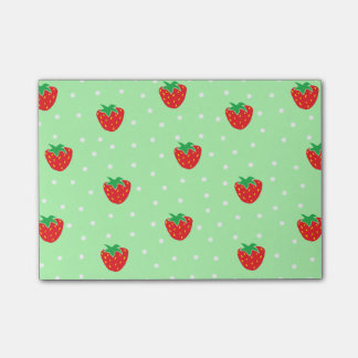 Strawberries and Polka Dots Mint Green Post-it Notes
