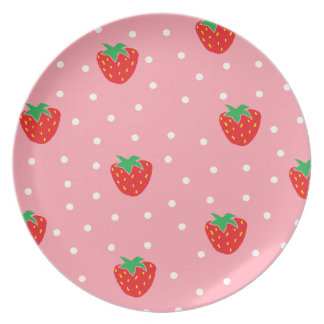 Strawberries and Polka Dots Pink Party Plate