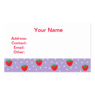 Strawberries and Polka Dots Purple Business Card
