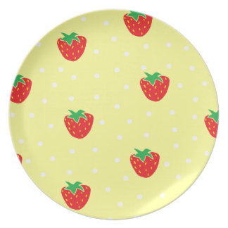 Strawberries and Polka Dots Yellow Plate