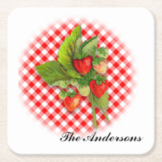 Strawberries as Fresh as Early Summer Square Paper Coaster
