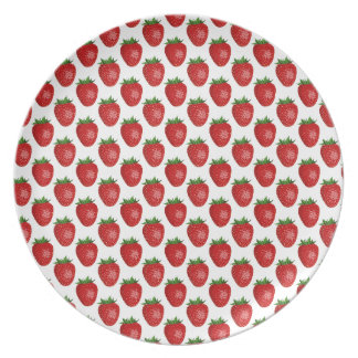 Strawberries background party plates