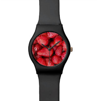 Strawberries background watch