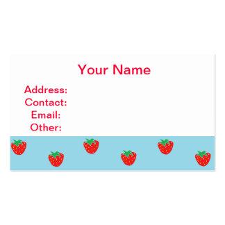 Strawberries Blue Business Card Templates