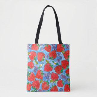 Strawberries Blueberries Honey Bees Watercolor Tote Bag