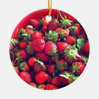 Strawberries Ceramic Ornament