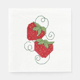 Strawberries Cross Stitch Disposable Napkin