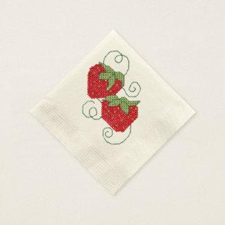 Strawberries Cross Stitch Disposable Napkins