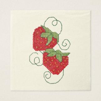 Strawberries Cross Stitch Disposable Napkins