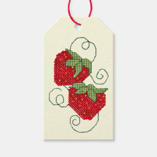 Strawberries Cross Stitch Pack Of Gift Tags