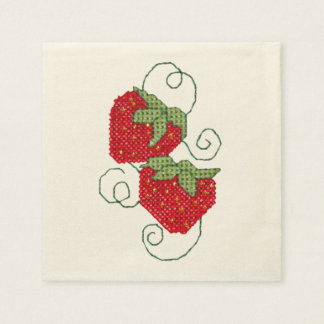 Strawberries Cross Stitch Paper Napkins