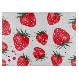 Strawberries Decorative Glass Cutting Board
