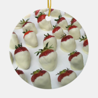 Strawberries dipped in white chocolate ceramic ornament