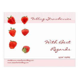 Strawberries Falling pink stripes Regards Postcard