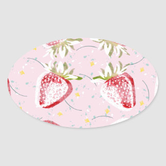 Strawberries Fiesta Pattern Oval Sticker