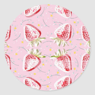 Strawberries Fiesta Pattern Round Sticker