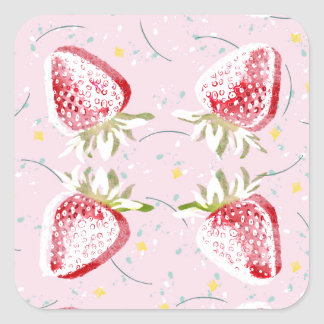 Strawberries Fiesta Pattern Square Sticker