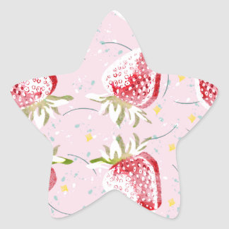 Strawberries Fiesta Pattern Star Sticker