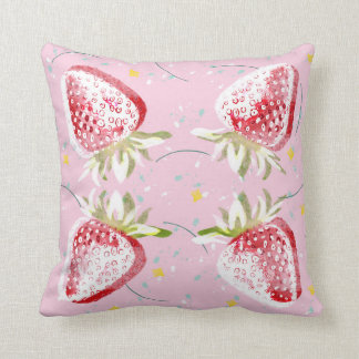 Strawberries Fiesta Pattern Throw Pillow