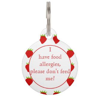 Strawberries Food Allergies Medical Alert Pet Tag
