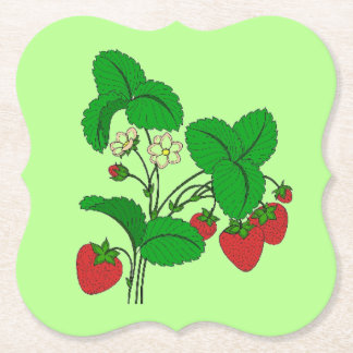 Strawberries for Breakfast Paper Coaster