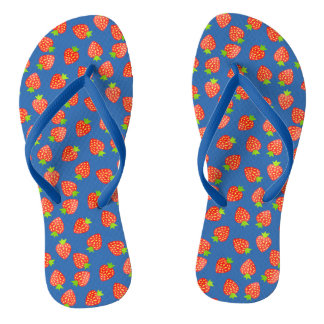Strawberries Fruit Pattern in Red and Blue Summer Flip Flops