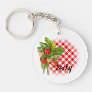 Strawberries, Gingham and Hearts Keychain