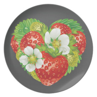 Strawberries Heart Dinner Plate