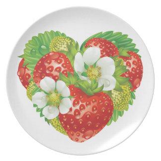 Strawberries Heart Dinner Plates