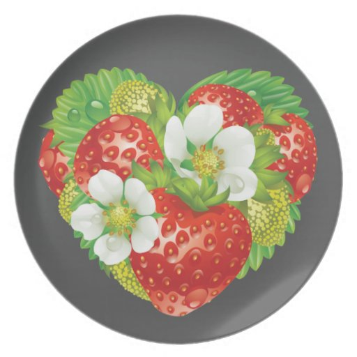 Strawberries Heart Party Plate
