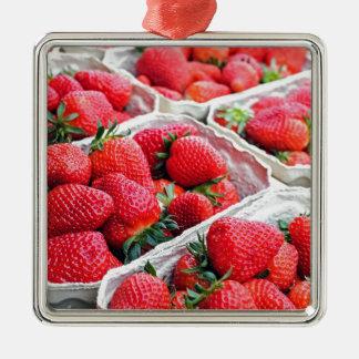 Strawberries market Silver-Colored square ornament