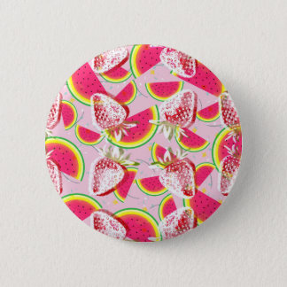 Strawberries Melon Fiesta Pattern 2 Inch Round Button