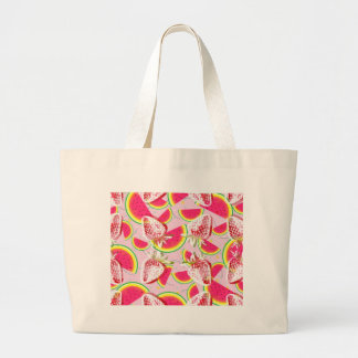 Strawberries Melon Fiesta Pattern Large Tote Bag