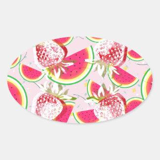 Strawberries Melon Fiesta Pattern Oval Sticker