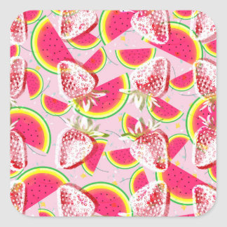 Strawberries Melon Fiesta Pattern Square Sticker