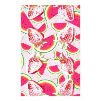 Strawberries Melon Fiesta Pattern Stationery
