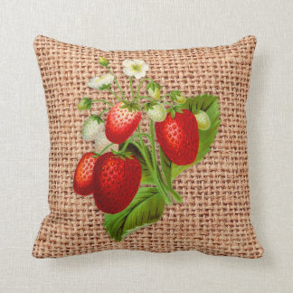 STRAWBERRIES on BURLAP Print Pillow